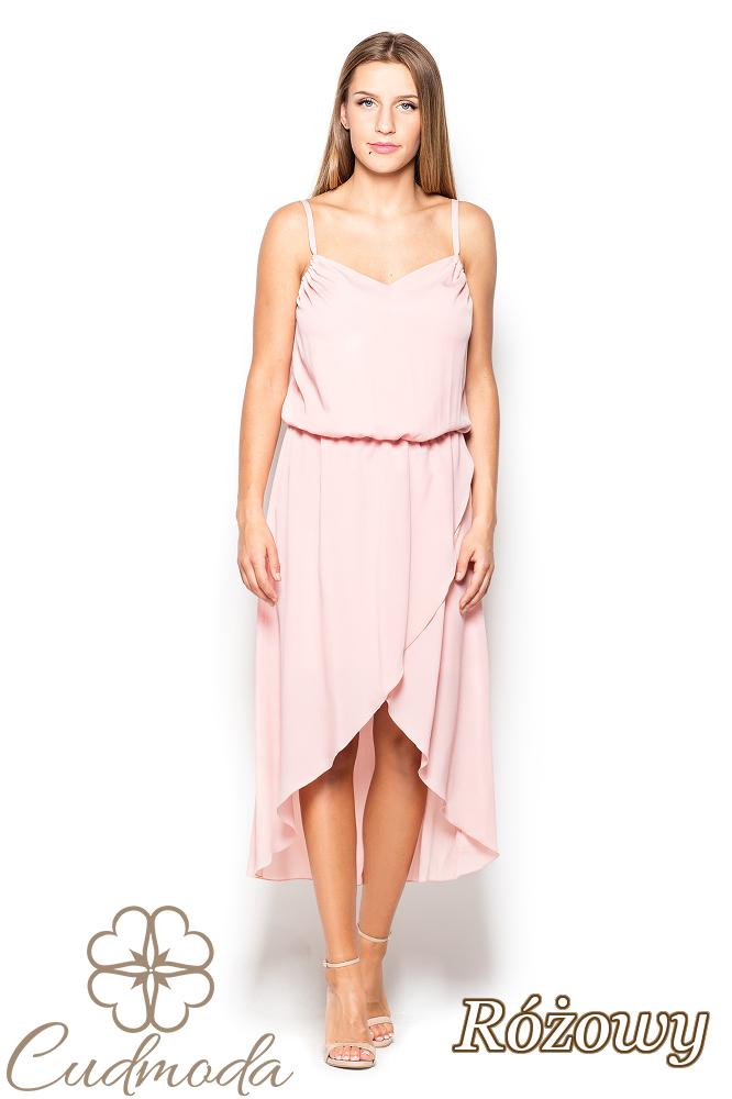 CM2516 Asymetryczna sukienka na ramiączkach - różowa
