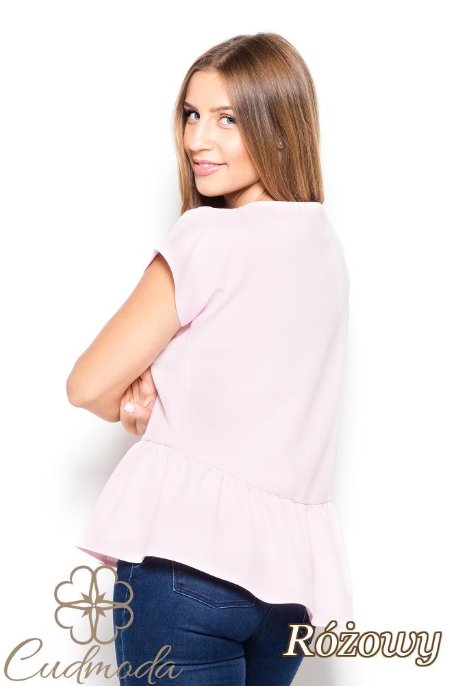 CM2517 Bluzka z falbanką i paskami na dekolcie - różowa