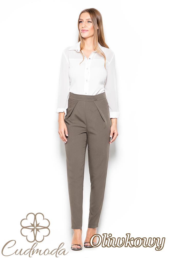CM2518 Biurowe spodnie rurki - oliwkowe
