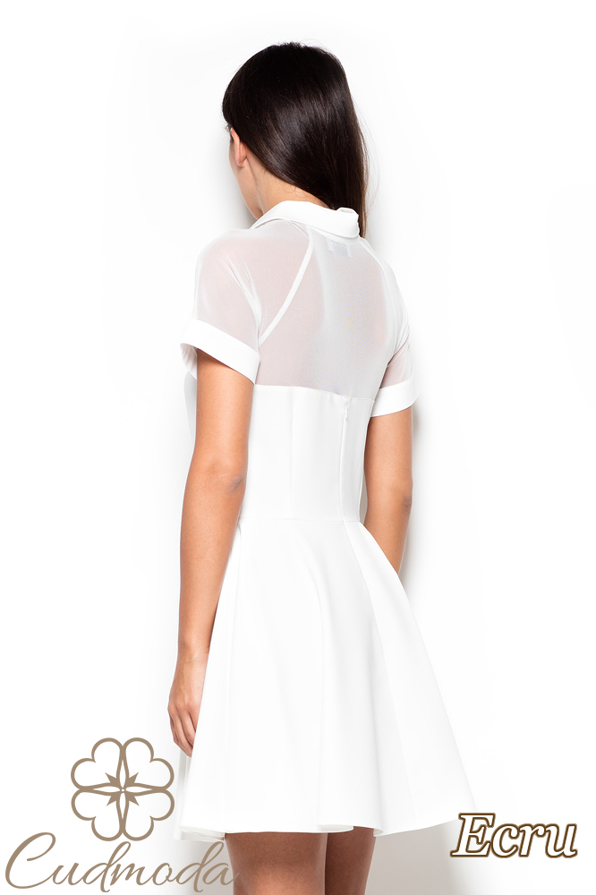 CM2519 Rozkloszowana sukienka z tiulową górą - ecru