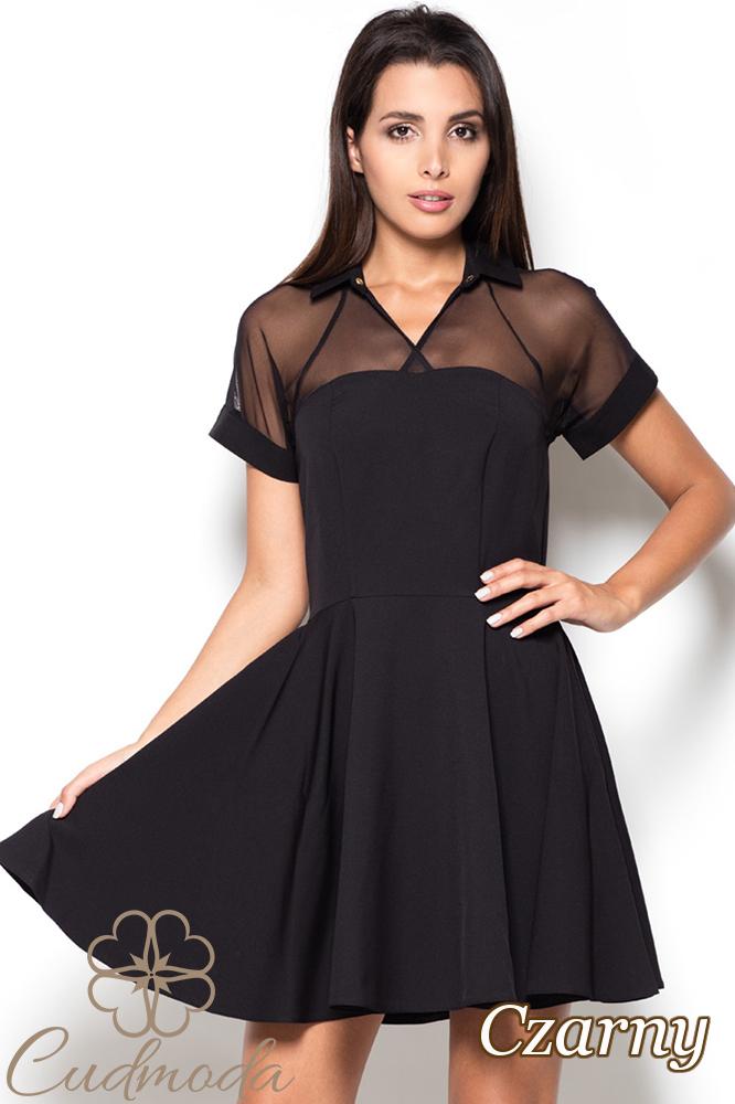 CM2519 Rozkloszowana sukienka z tiulową górą - czarna