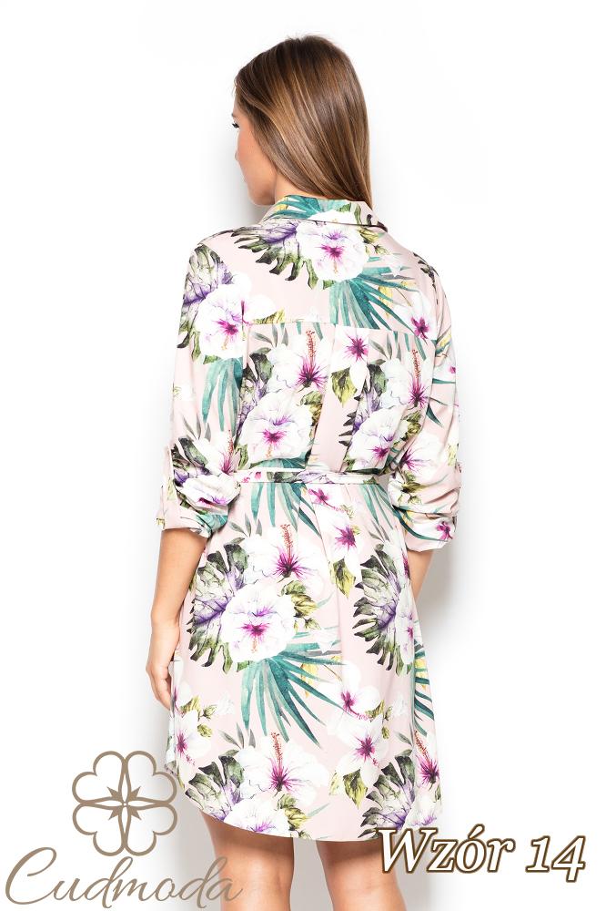 CM2523 Koszulowa sukienka przewiązana w pasie - wzór 14