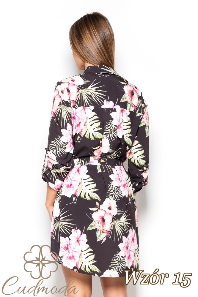 CM2523 Koszulowa sukienka przewiązana w pasie - wzór 15