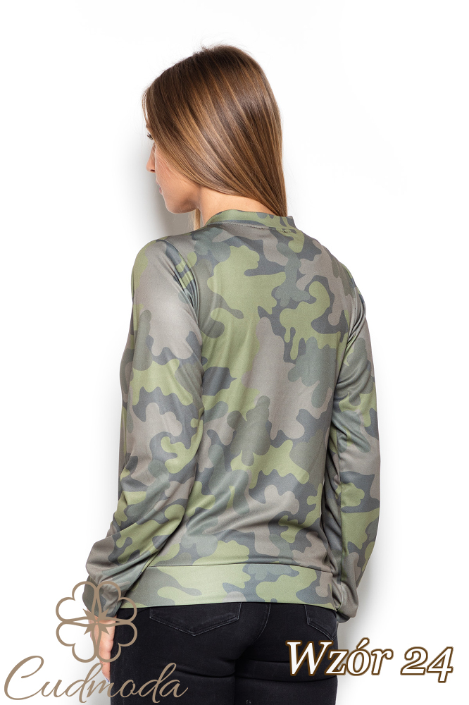 CM2524 Zasuwana bluza z długim rękawem we wzory - wzór 24