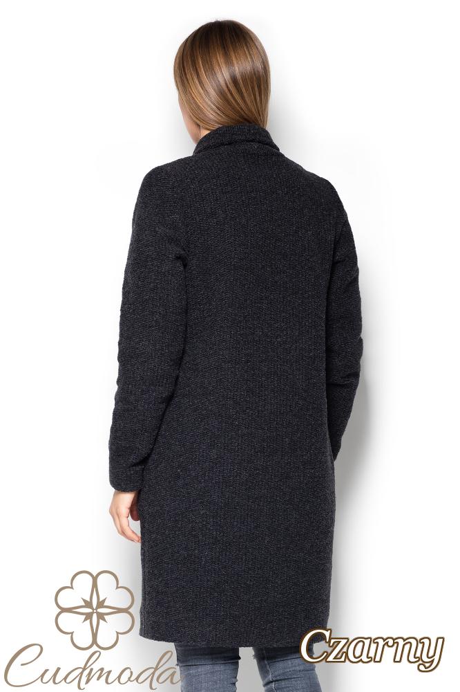 CM2526 Długi niezapinany płaszcz oversize - czarny