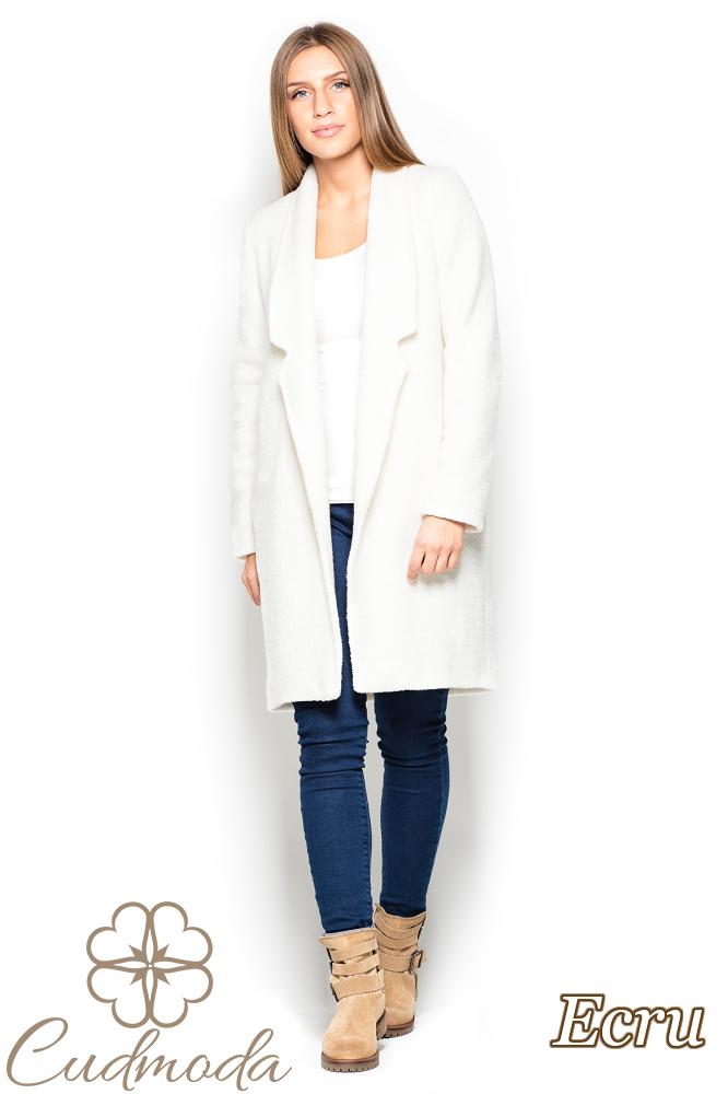 CM2526 Długi niezapinany płaszcz oversize - ecru