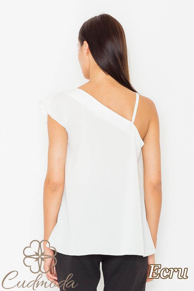 CM2527 Asymetryczna bluzka z falbanką - ecru