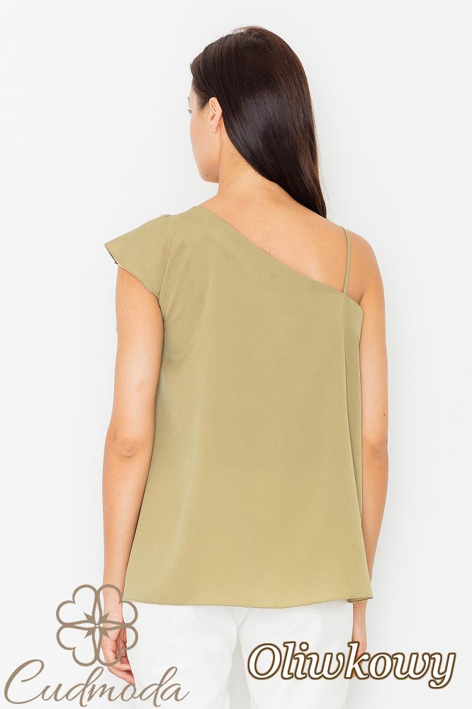 CM2527 Asymetryczna bluzka z falbanką - oliwkowa