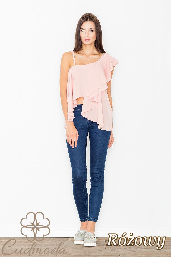 CM2527 Asymetryczna bluzka z falbanką - różowa