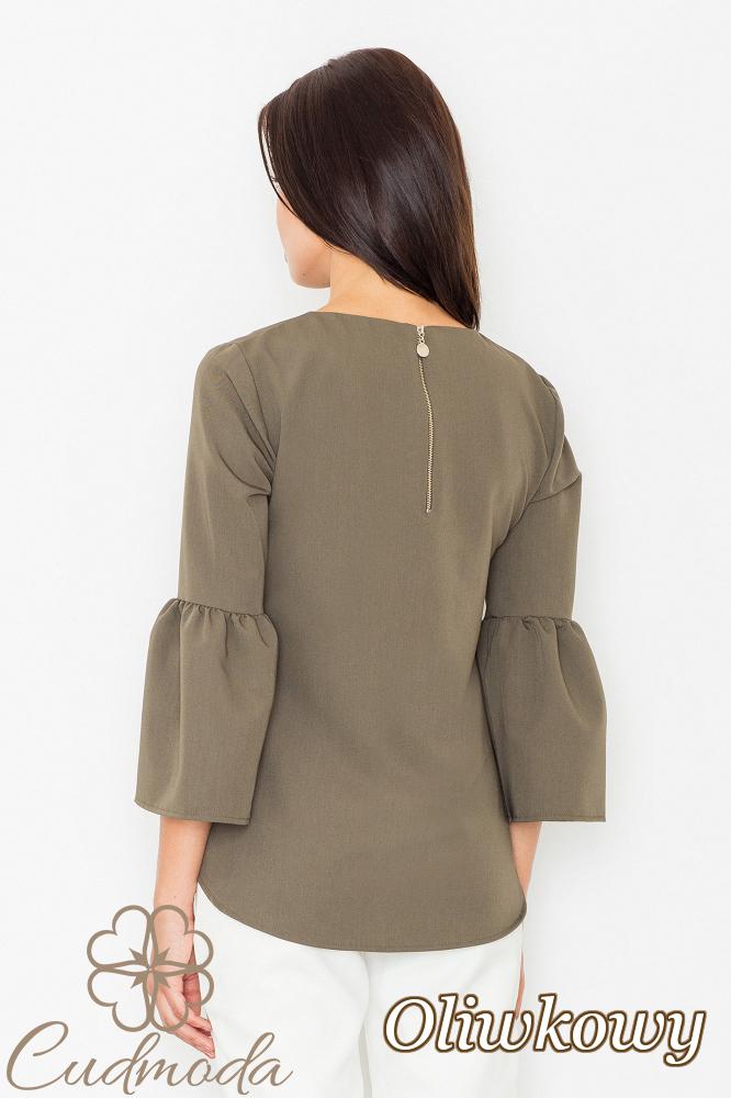 CM2529 Nowoczesna bluzka z rękawami z falbanką - oliwkowa