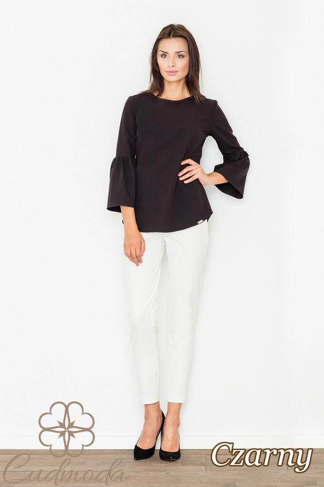 CM2529 Nowoczesna bluzka z rękawami z falbanką - czarna