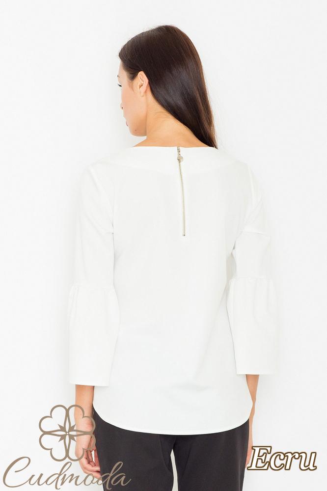 CM2529 Nowoczesna bluzka z rękawami z falbanką - ecru