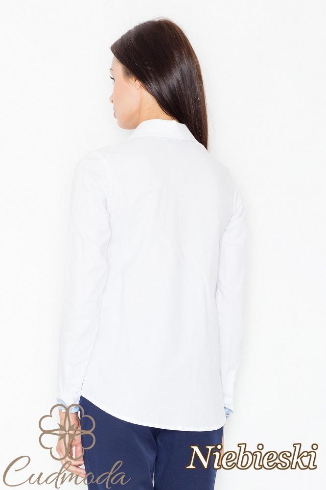 CM2533 Klasyczna koszula z kolorowym podszyciem - niebieska