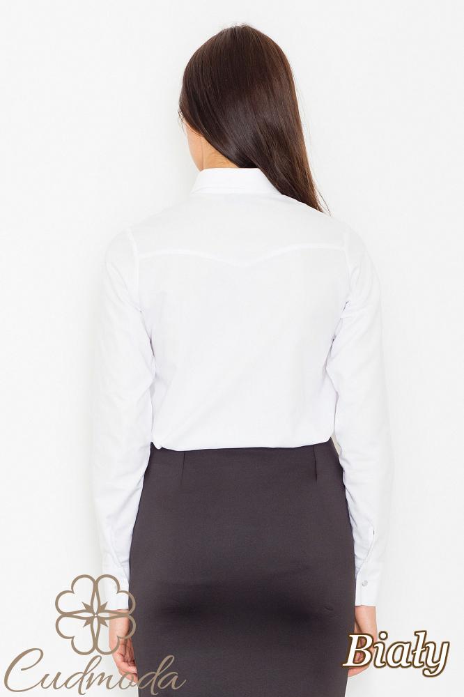 CM2534 Elegancka koszula biurowa z długim rękawem - biała