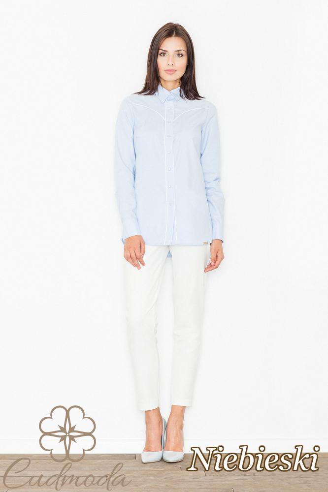 CM2534 Elegancka koszula biurowa z długim rękawem - niebieska