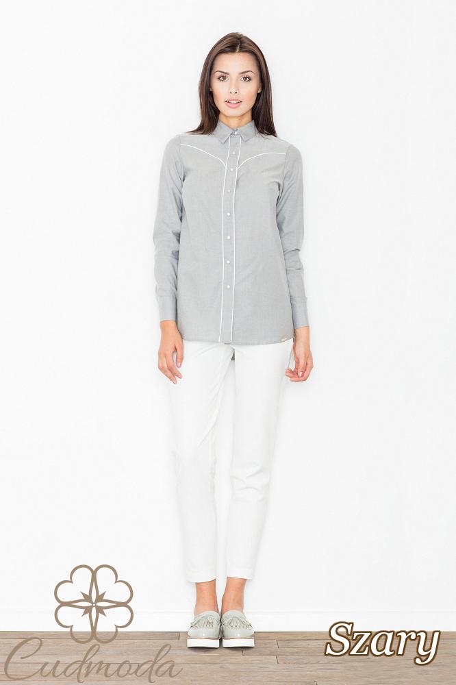 CM2534 Elegancka koszula biurowa z długim rękawem - szara