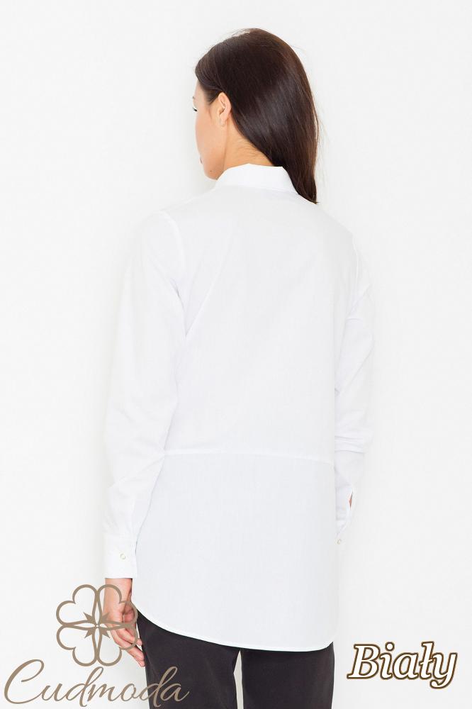 CM2535 Bluzka koszulowa z kieszonkami na przodzie - biała