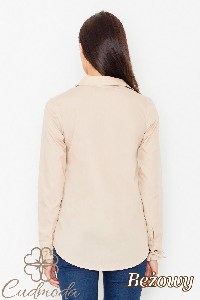 CM2536 Ekstrawagancka bluzka ze sznurowanym dekoltem - beżowa