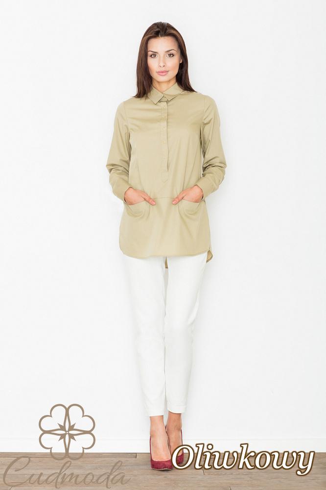 CM2535 Bluzka koszulowa z kieszonkami na przodzie - oliwkowa