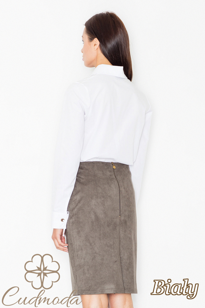 CM2536 Ekstrawagancka bluzka ze sznurowanym dekoltem - biała