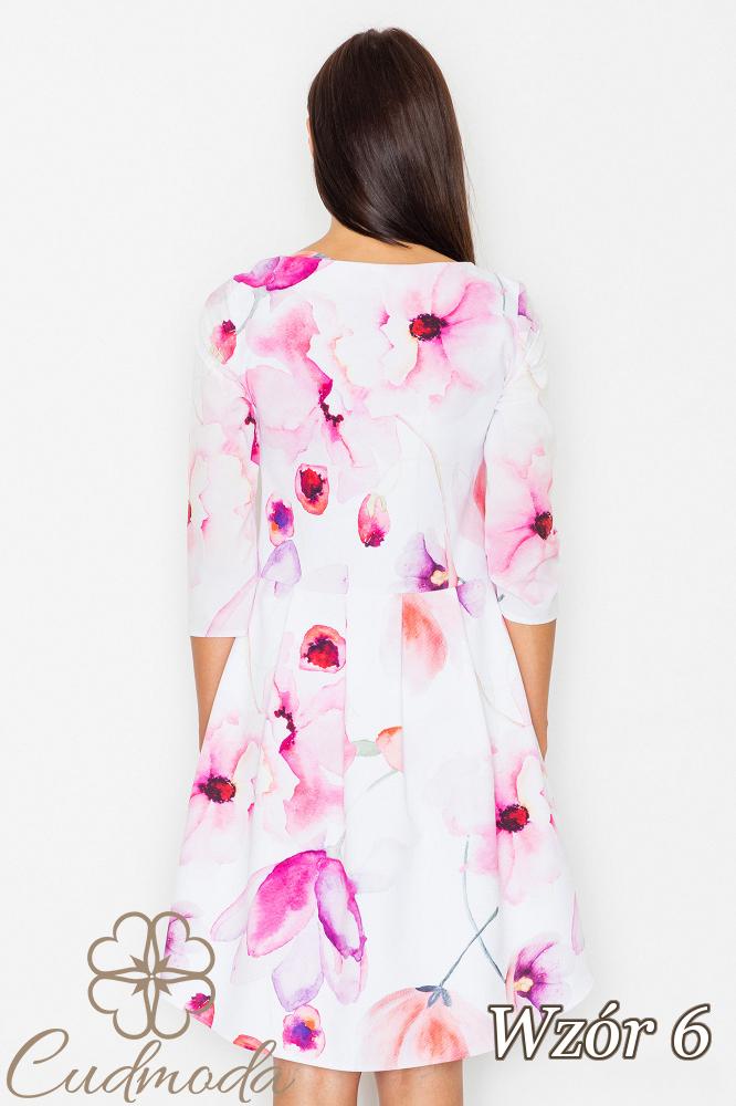 CM2539 Asymetryczna sukienka w kwiaty - wzór 6
