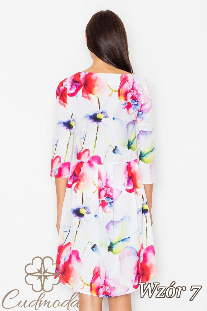 CM2539 Asymetryczna sukienka w kwiaty - wzór 7