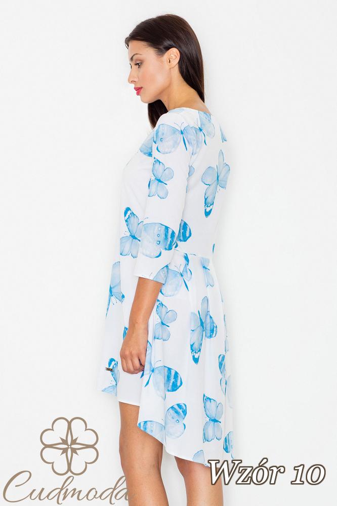 CM2539 Asymetryczna sukienka w kwiaty - wzór 10