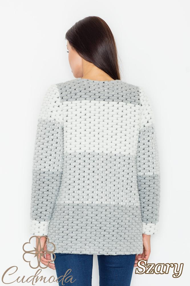 CM2548 Niezapinany wełniany sweter - szary