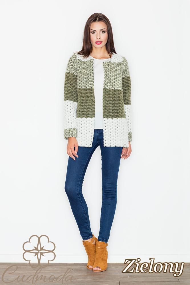 CM2548 Niezapinany wełniany sweter - zielony