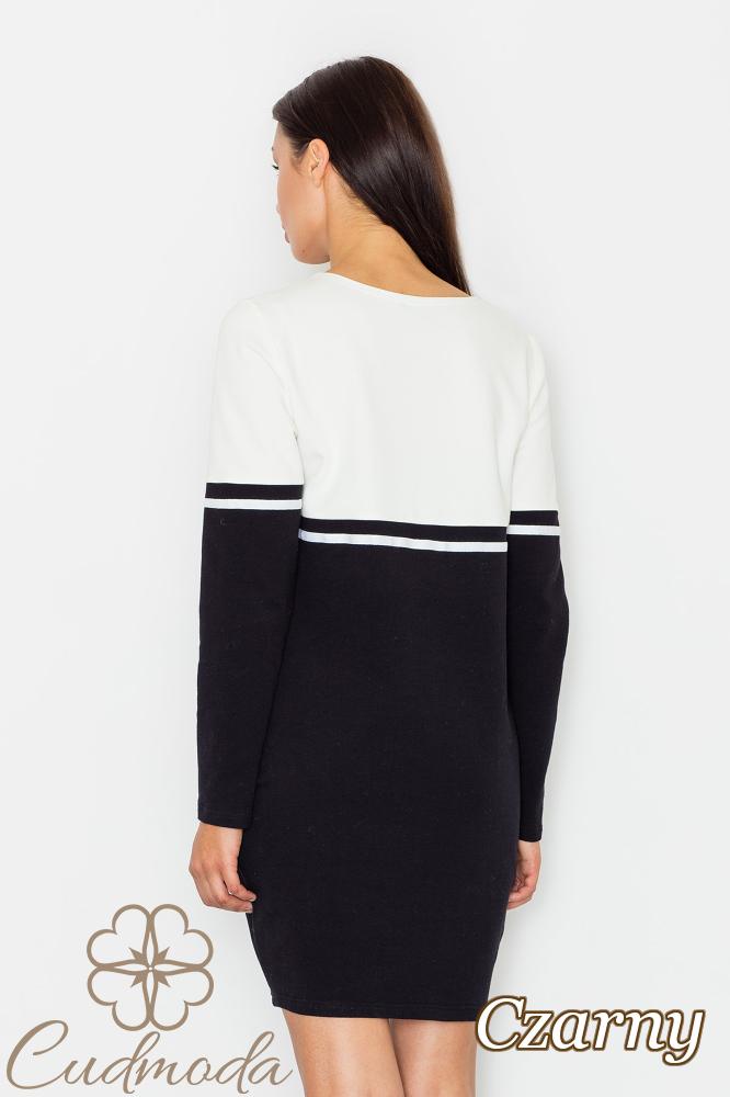 CM2550 Bawełniana sukienka ołówkowa - czarna