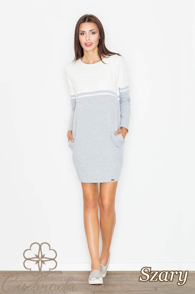 CM2550 Bawełniana sukienka ołówkowa - szara