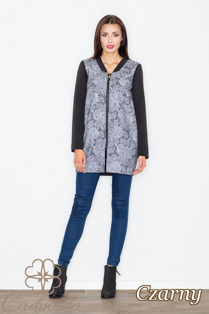 CM2551 Zasuwany płaszcz z motywem - czarny