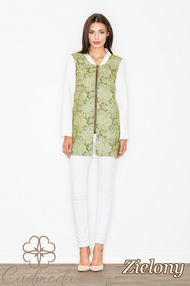 CM2551 Zasuwany płaszcz z motywem - zielony