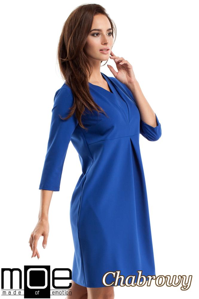 CM2562 Wieczorowa sukienka z podwójnym dekoltem - chabrowa