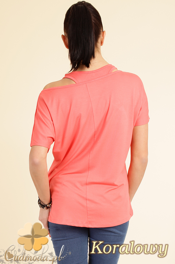 CM0074 Zwiewna bluzeczka nietoperz+ bokserka gratis - koralowa