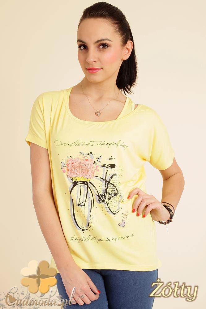 CM0074 Zwiewna bluzeczka nietoperz+ bokserka gratis - żółta
