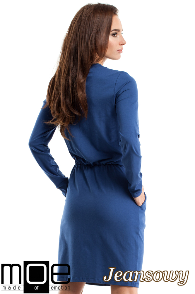 CM2563 Sukienka z marszczeniami i wiązanym dekoltem - jeansowy