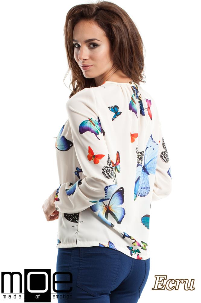 CM2564 Zwiewna bluzka damska w motyle - ecru
