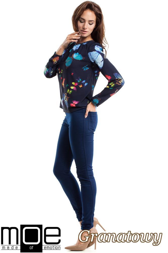 CM2564 Zwiewna bluzka damska w motyle - granatowa