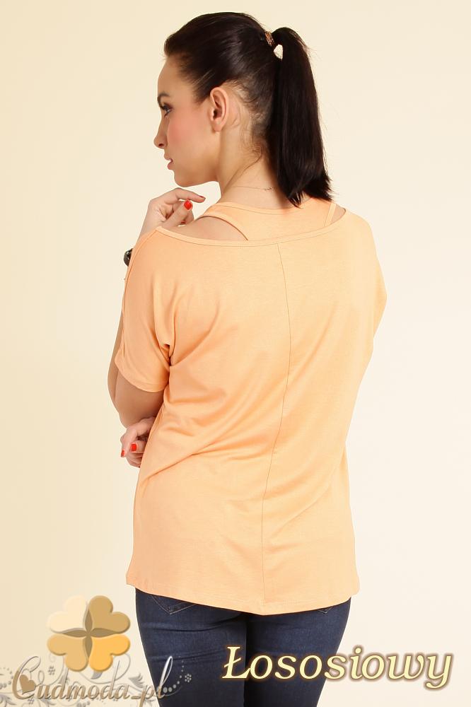 CM0074 Zwiewna bluzeczka nietoperz+ bokserka gratis - łososiowa