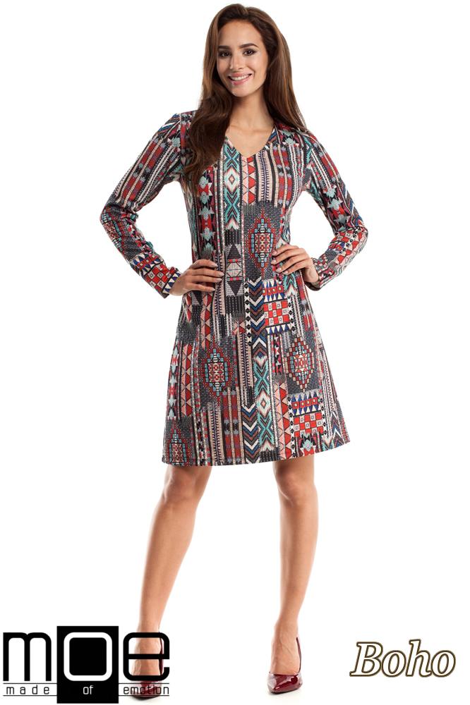 CM2568 Trapezowa sukienka we wzory z długim rękawem - boho