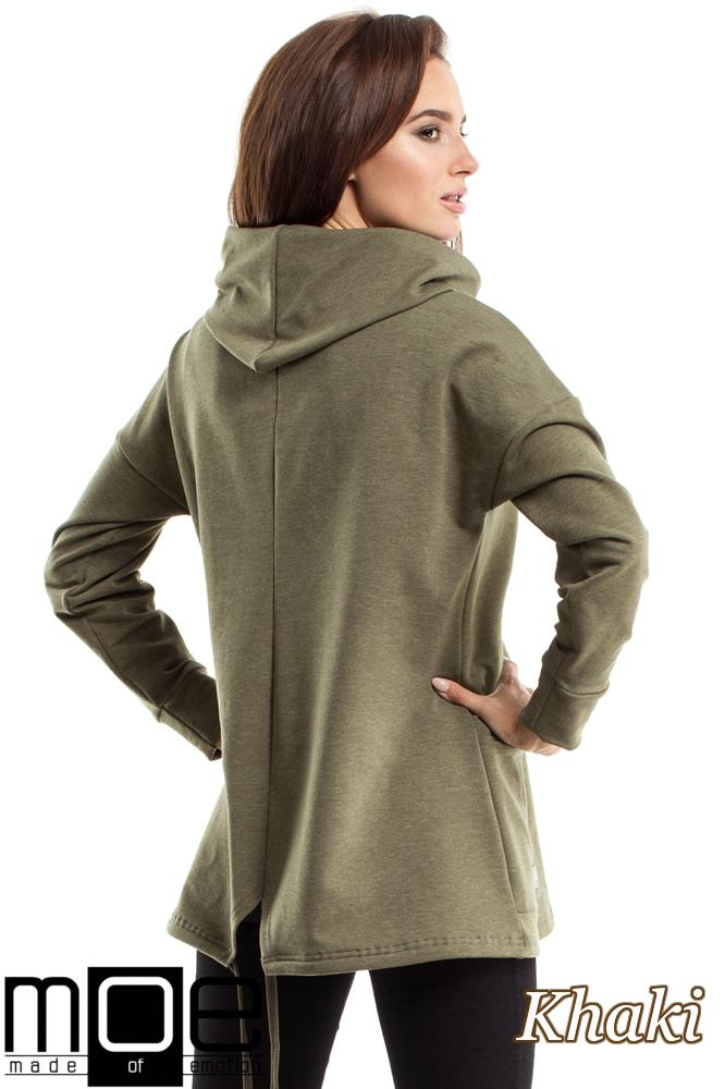CM2571 Bluza oversize z kominem i kieszenią - khaki