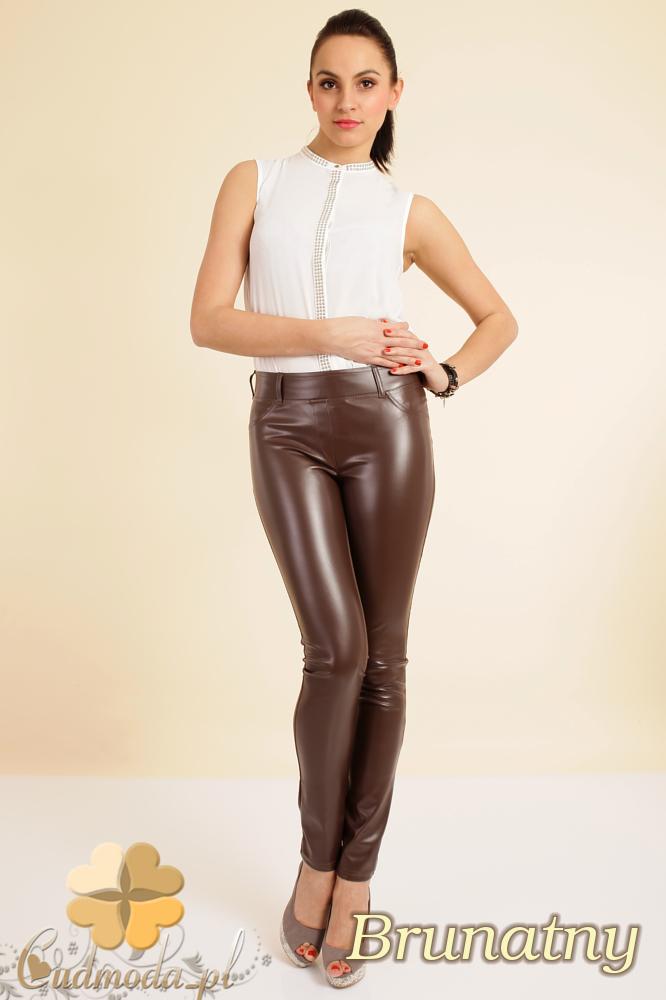 CM0192 Włoskie leginsy spodnie ze skórzanymi wstawkami - brunatne