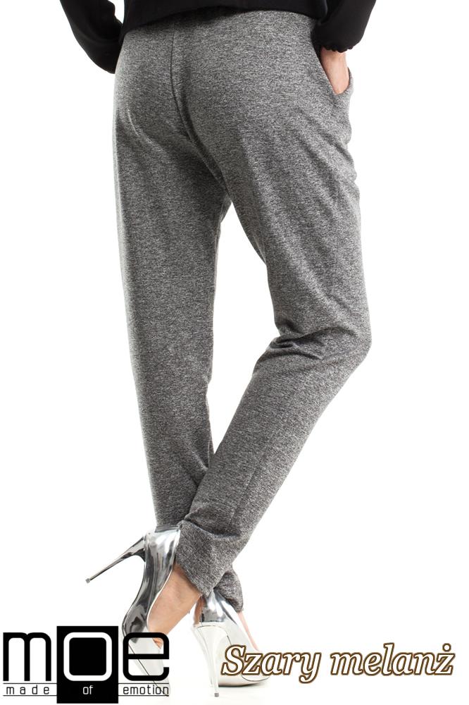 CM2574 Spodnie z zakładką i ściągaczem - szary melanż