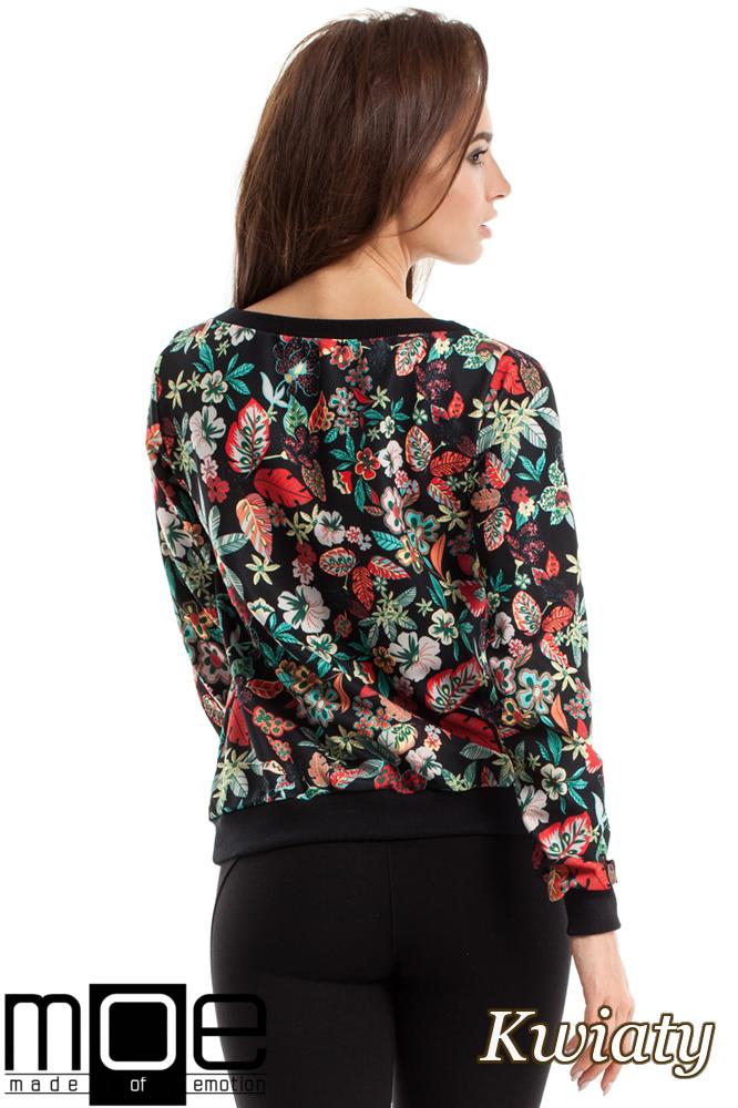 CM2575 Prosta bluzka ze ściągaczami - kwiaty