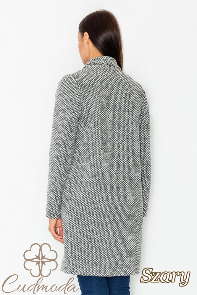 CM2601 Niezapinany płaszcz oversize - szary