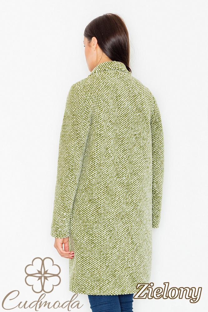 CM2601 Niezapinany płaszcz oversize - zielony