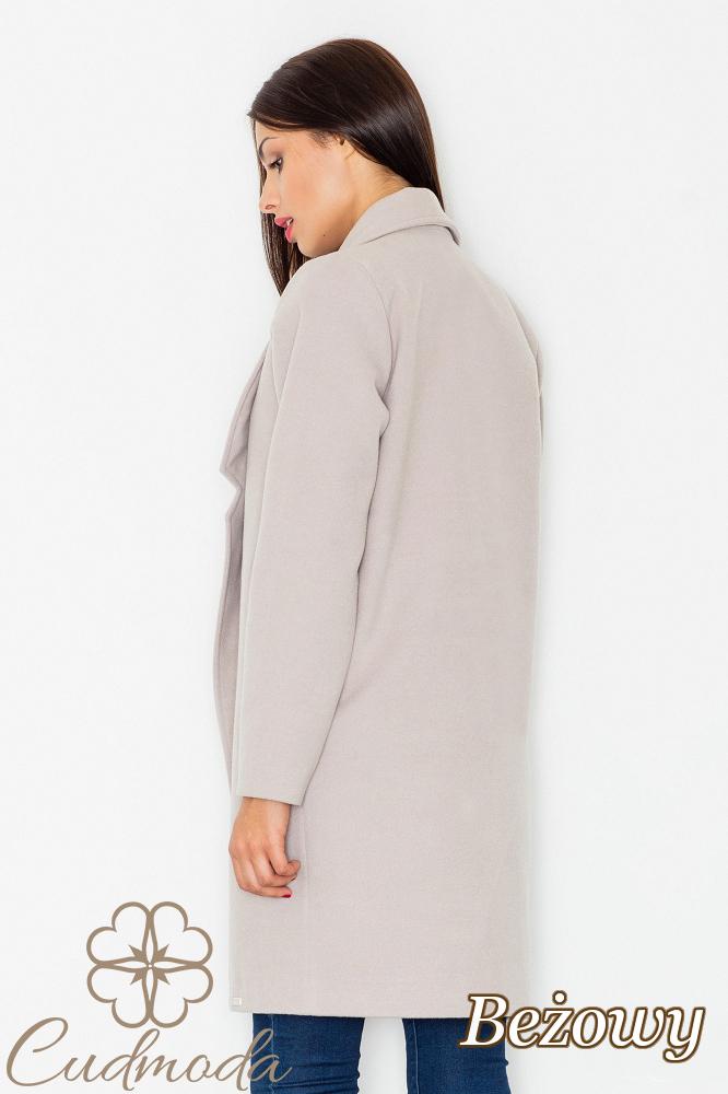 CM2602 Luźny niezapinany płaszcz na jesień - beżowy