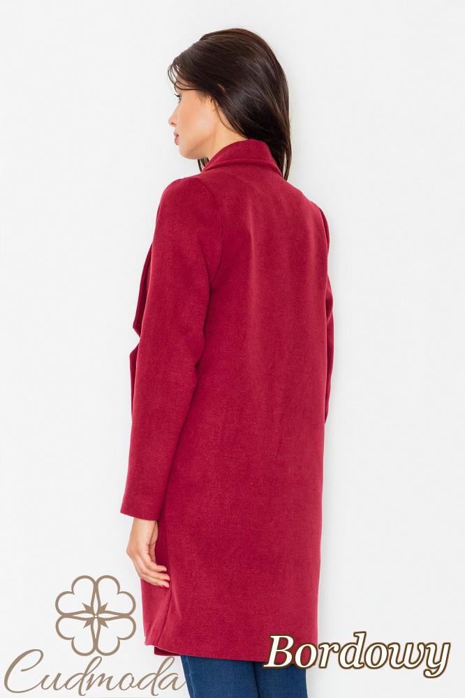 CM2602 Luźny niezapinany płaszcz na jesień - bordowy