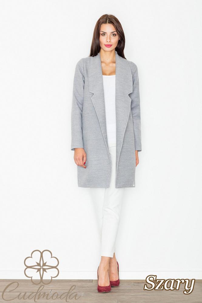 CM2602 Luźny niezapinany płaszcz na jesień - szary